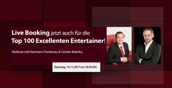 Live Booking für Top 100 Excellente Entertainer